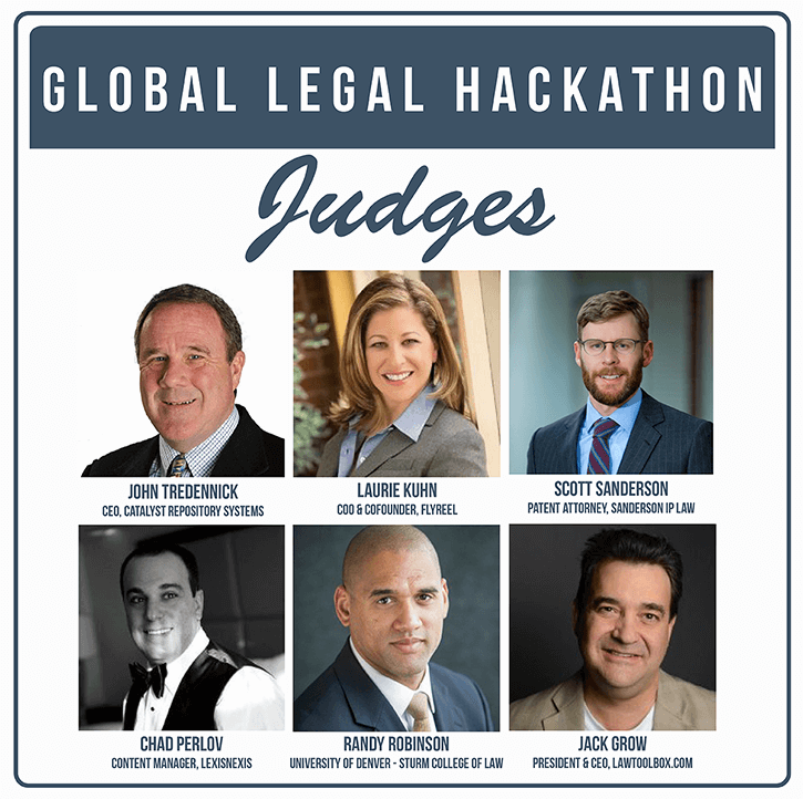 Denver Judges announced for this weekend's Global Legal Hackathon